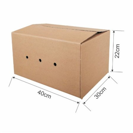 Caixa de Papelão para Transporte e Mudança com Furo - C:40 x L:30 x A:22 (Kit 5 Unidades)