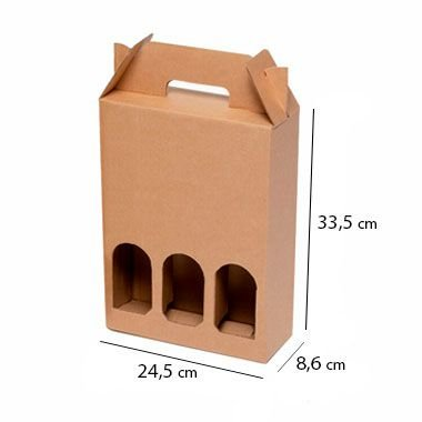 Caixa de Papelão para 3 Garrafas de Cerveja e Vinho - C:24 x L:8 x A:33 cm (Kit c/ 10 unidades)