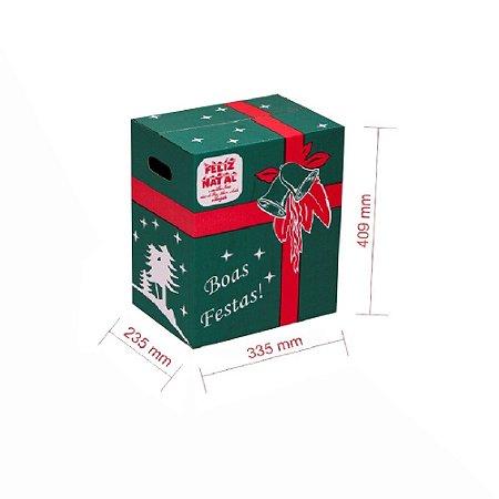 Caixa de Papelão para Cesta de Natal - Verde - C:33 x L:23 x A:40,9 (Kit 10 Peças)