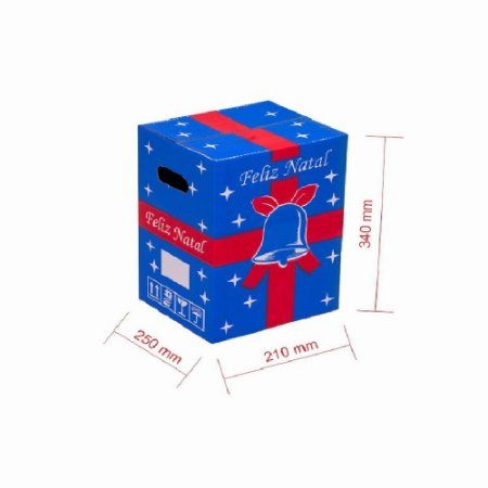 Caixa de Papelão para Cesta de Natal - Azul - C:25 x L:21 x A:34 (Kit 10 Peças)