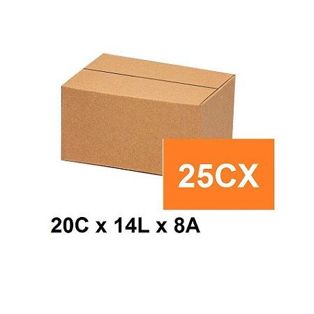 Caixa Papelão Sedex Correio E-Commerce C:20 x L:14 x A:8 (Kit 25 Unidades)