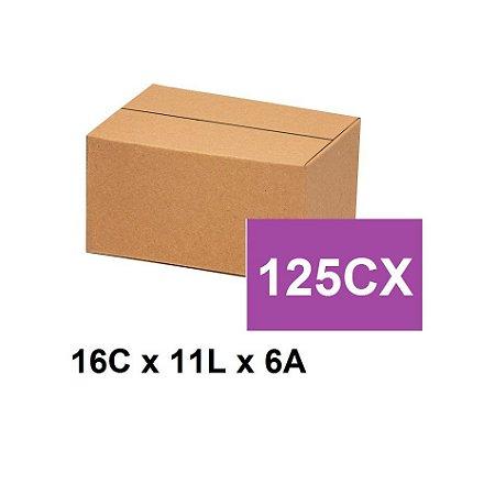 Caixa Papelão Sedex Correio E-Commerce C:16 x L:11 x A:6 (Kit 125 unidades)