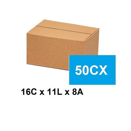 Caixa Papelão Sedex Correio E-Commerce C:16 x L:11 x A:8 (Kit 50 Unidades)