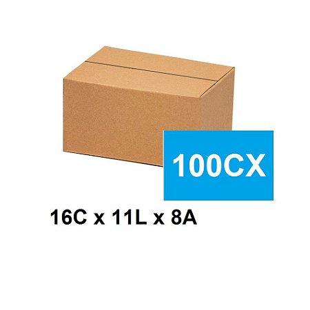 Caixa Papelão Sedex Correio E-Commerce C:16 x L:11 x A:8 (Kit 100 Unidades)