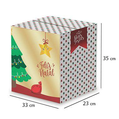 Caixa de Papelão para Cesta de Natal - Árvores Natalinas - C:33 x L:23 x A:35 cm (Kit c/ 10 unidades)