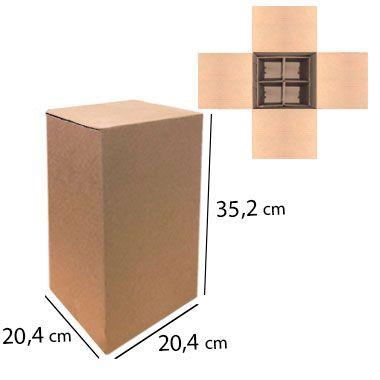 Caixa de Papelão para 4 Garrafas de Cerveja e Vinho com Colméia - C:20,4 x L:20,4 x A:35,2 cm ( Kit c/ 5 unidades)