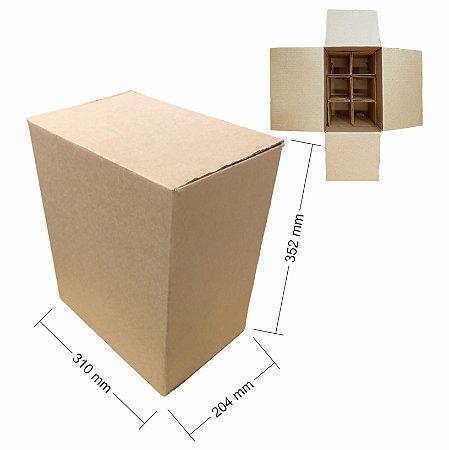 Caixa de Papelão para 6 Garrafas de Cerveja e Vinho com Colméia - C:31 x L:20,4 x A:35,2 cm ( Kit c/ 5 unidades)