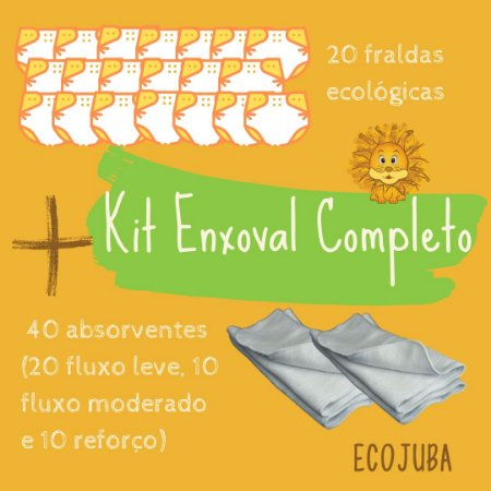 Kit 100% Ecológicas Enxoval Completo - Kit Promocional de Fraldas Ecológicas EcoJuba