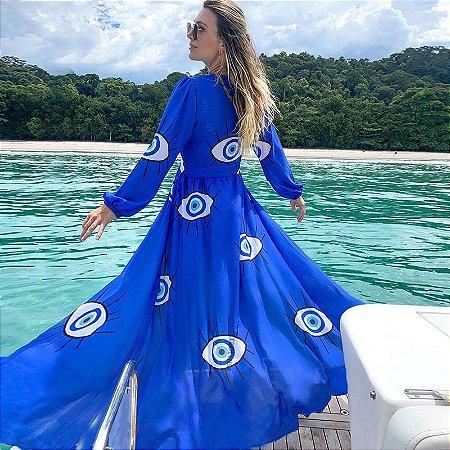 Kimono Feminino Maxi Azul Estamparia Olho Grego