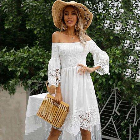 Vestido Feminino Elegante Ciganinha com Renda