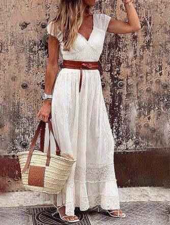 Vestido Feminino Bohemian Longo Rendado com Cinto