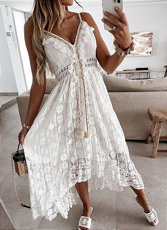 Vestido Feminino Mullet Estilo Boho em Renda Delicado com Pingente