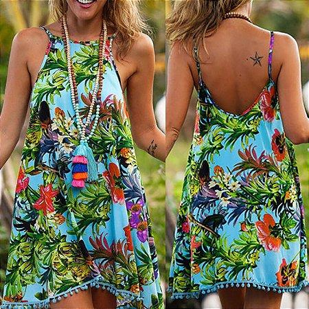 Vestido Soltinho Estampa Floral Tropical