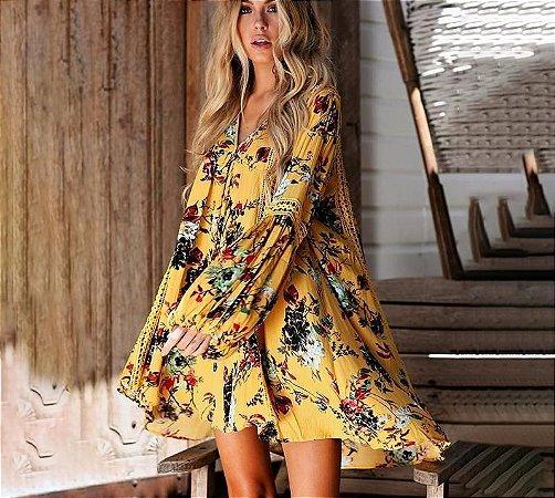 Vestido Feminino Mini ou Bata Longa Estamparia Floral Amarelo Detalhe em Renda