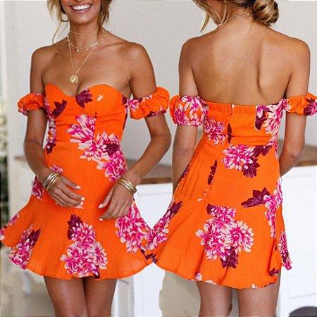 Vestido Feminino Ombro à Ombro Floral Alegre com Top