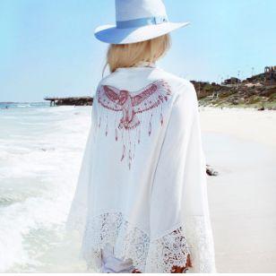 Kimono tipo bata Aberta, Kimono Estampa Águia com Renda