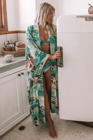Kimono Longo Estampa Natureza Viva Floral