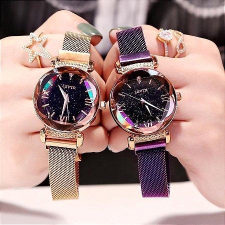 Relógio Céu Estrelado Magnético Feminino + Bracelete  Brinde