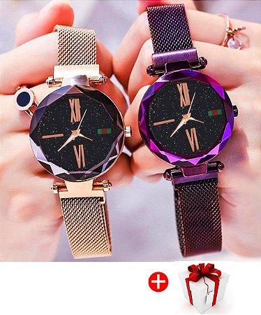 Relógio Céu Estrelado Magnético Feminino Lançamento + Bracelete