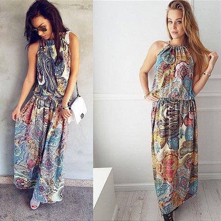 Vestido Feminino Longo Floral Arabesco Vintage