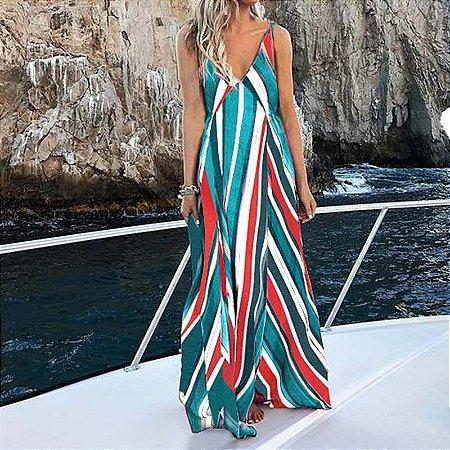 Vestido Feminino Longo Listrado Boêmio