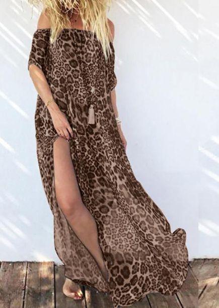 Vestido Feminino Longo Leve de Sobrepor ou Saída de Praia Animal Print