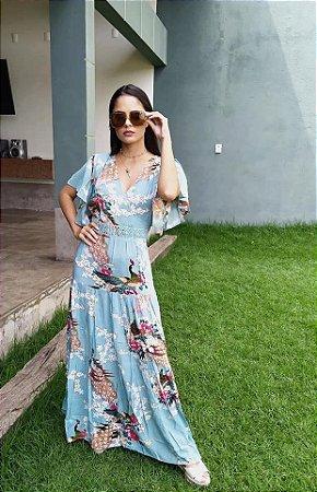 Vestido Feminino Luxo Primaveril Delicado Estampa Pavões e Florais Pasteis