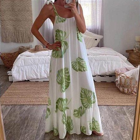 Vestido Feminino Longo Casual Estampa Folhagens