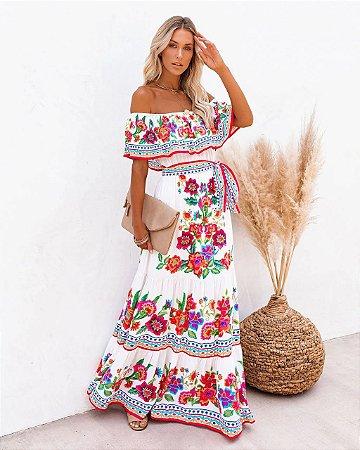 Vestido Feminino Bohemian Maxi Estampa Maxi Ombro à Ombro