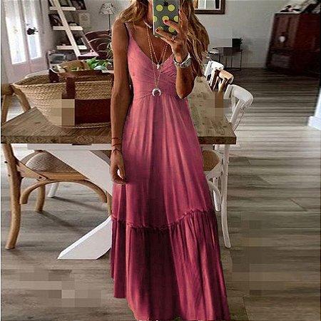Vestido Feminino Longo Tie Degradê Traspassado de Alcinhas