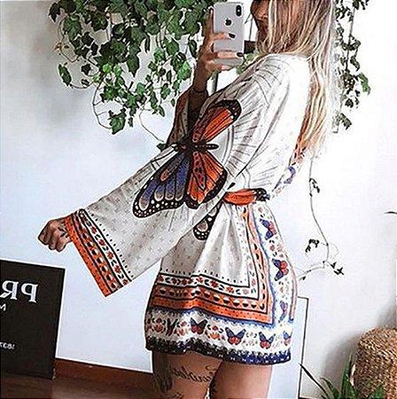 Kimono Feminino Estamparia Borboleta