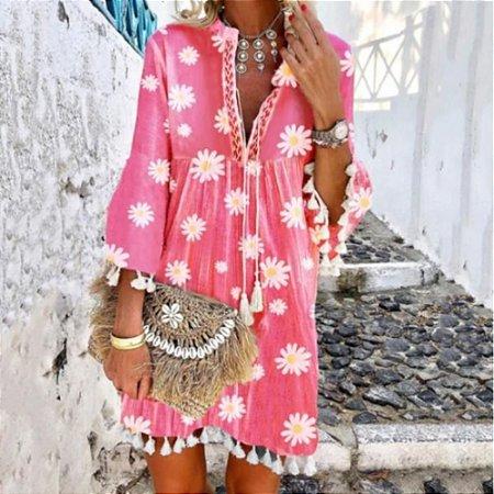 Vestido Feminino Estilo Boho Estamparia Floral Romantic