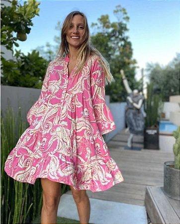 Vestido Feminino Estamparia Floral e Arabescos Rosa