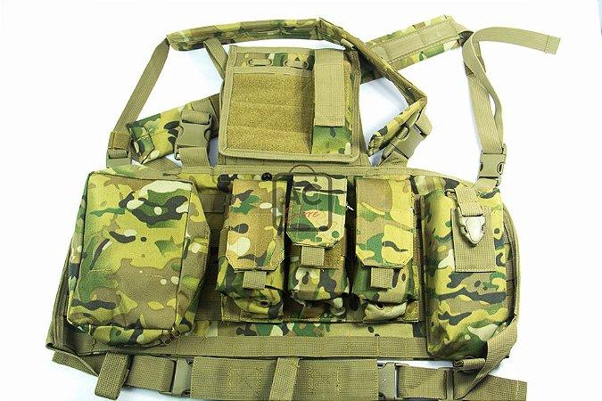 Colete Tático Militar Airsoft QGK Chest Rig 5.56 M4S Multicam