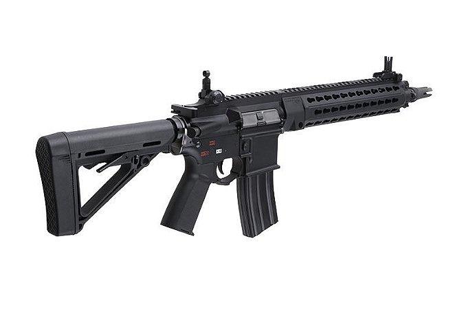 Fuzil Rifle Arma de Airsoft Elétrica Bolt B4 Devgru Keymod com Blowback e Recuo
