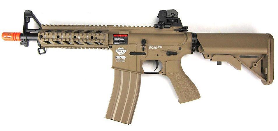 Fuzil Rifle Arma de Airsoft Elétrica G&G CM16 Raider Desert Tan