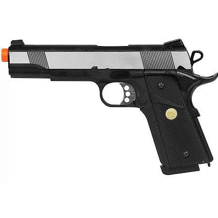 Pistola Airsoft GBB Gas Blowback Double Bell M1911 728L Prata