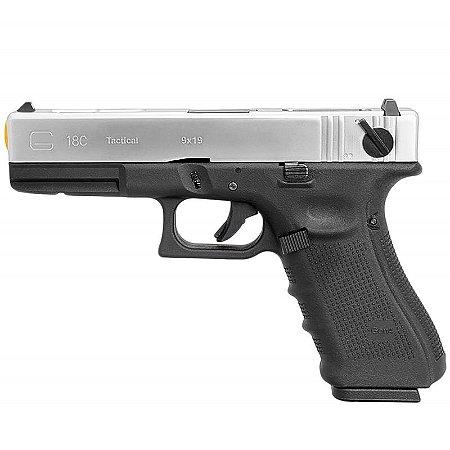 Pistola Airsoft GBB Gas Blowback WE Glock G18 Gen4 Prata