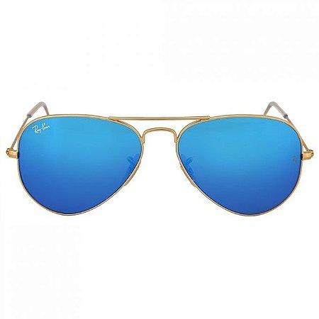 478bd9d5e Ray Ban Aviador Dourado Lentes Azul Espelhado RB3025L - Ótica ...
