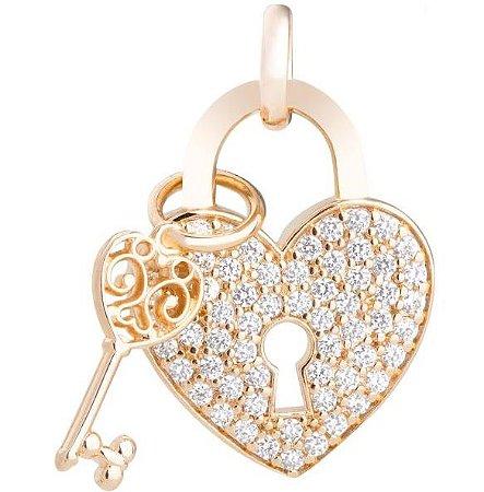 Pingente Coração Cadeado com Pedras de Zircônia 1800536