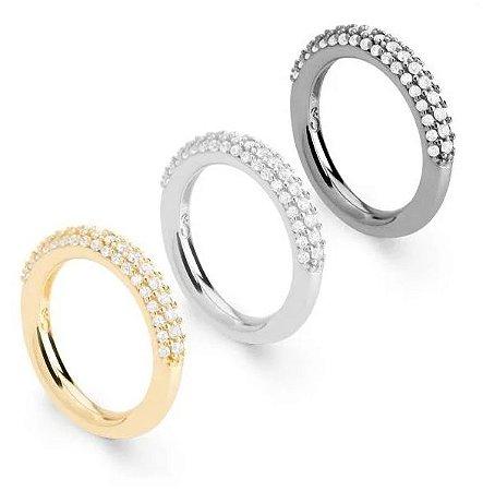 Anéis Folheados com Pedras de Zircônia