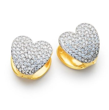 Brinco Folheado Coração com Pedras de Zircônia