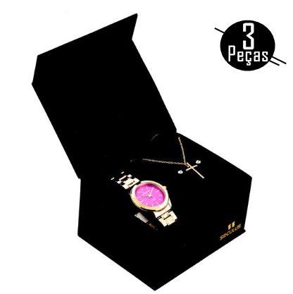 Relógio Seculus Mostrador Rosa com kit Folheado a Ouro 18k