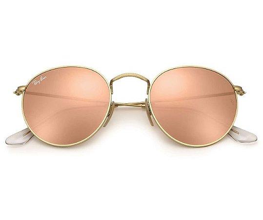 Ray Ban Round Flash Lenses Espelhado Rosé