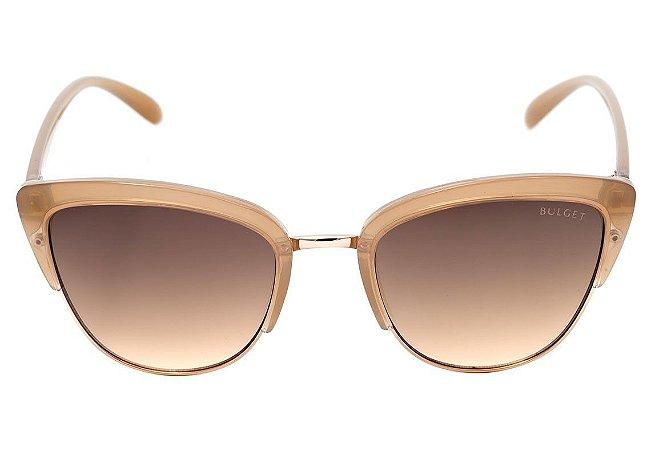 c5c3ef555 Óculos de Sol Bulget Bege Translúcido e Dourado Brilho Degradê BG3206 T01