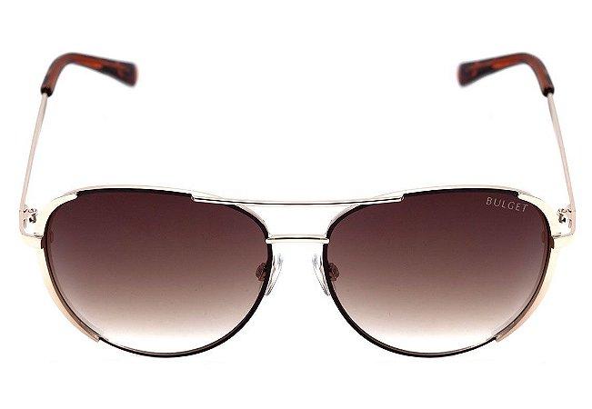 97ae7ccbda3a4 Óculos de Sol Bulget Marrom e Dourado Brilho Degradê BG3202 04A