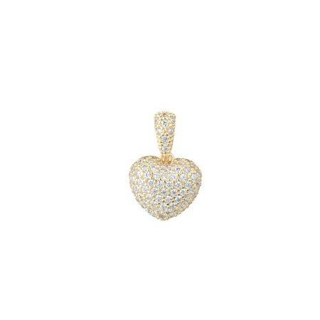 Pingente Coração com Pedras de Zircônia Folheado a Ouro
