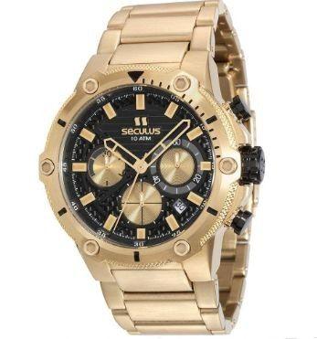 Relógio Seculus Resistente à Água Banhado Em Ouro 18k