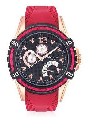 Relógio Seculus  23541GPSVIU1 Masculino Vermelho/Preto