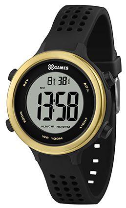 Relógio X-Games Feminino Preto com Dourado Digital XFPPD062